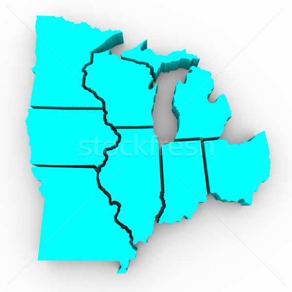 Great Lakes Region of States - 3d Map Stock photo © iqoncept