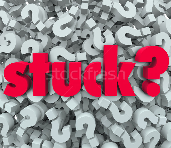 Stuck Word Question Mark Background Caught Problem Stock photo © iqoncept