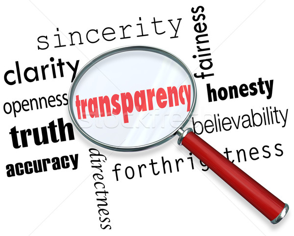Transparency Word Magnifying Glass Sincerity Openness Clarity Stock photo © iqoncept