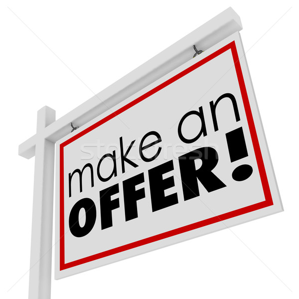 Make an Offer Words For Sale Real Estate Sign Buyer Price Stock photo © iqoncept