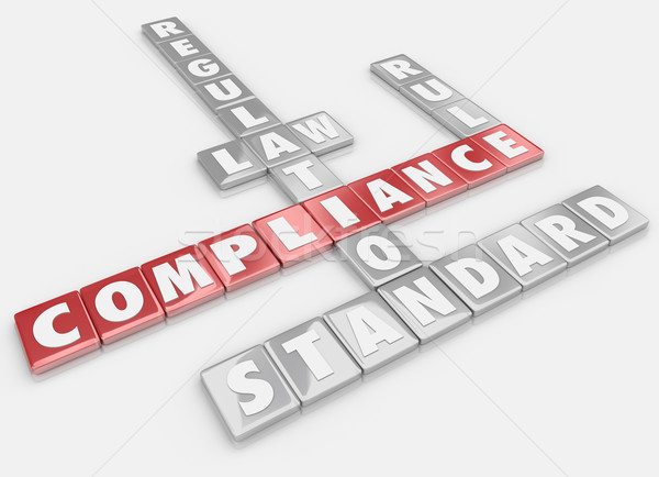 Compliance Word Tiles Follow Rules Regulations Laws Guidelines Stock photo © iqoncept