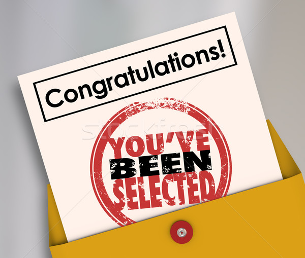 Congratulations You've Been Selected Stamp Official Letter Stock photo © iqoncept