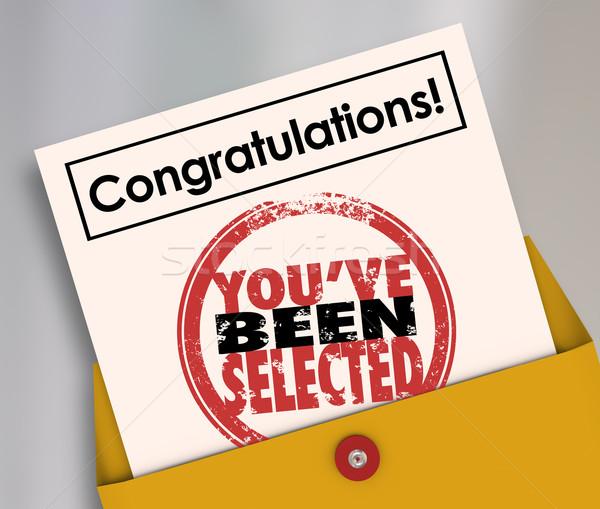 Gefeliciteerd gekozen stempel officieel brief woorden Stockfoto © iqoncept