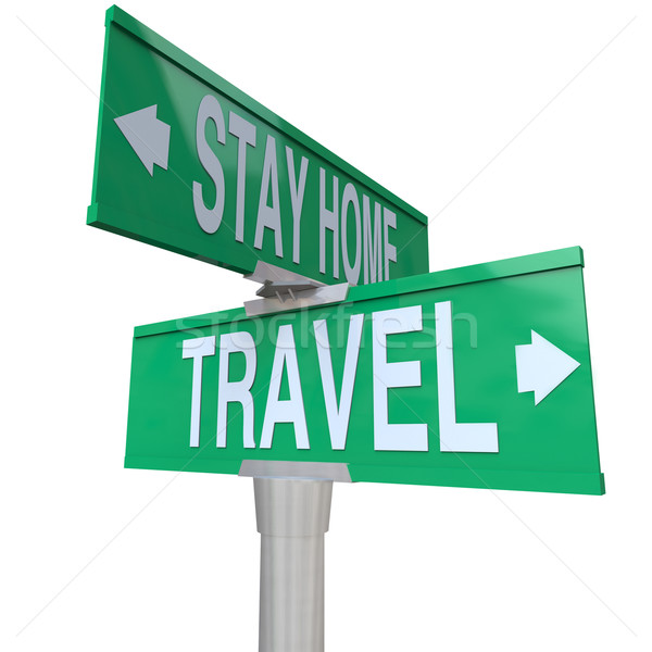 Travel Vs Stay Home Words Two Way Street Road Intersection Signs Stock photo © iqoncept