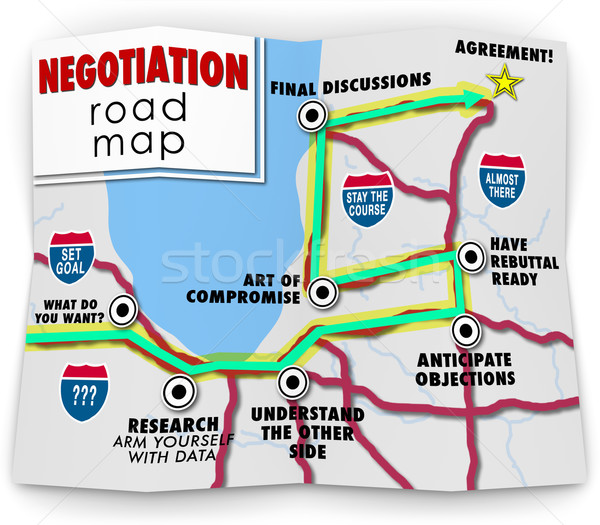 Negotiation Road Map Directions Agreement Common Benefit Goal Stock photo © iqoncept