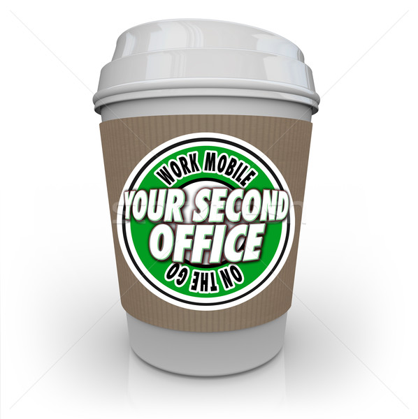 Your Second Office Coffee Cup Cafe Shop Work Away Mobile Product Stock photo © iqoncept