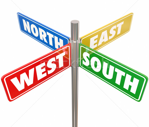 North South East West Road Signs Travel Direction 4 Way Route Stock photo © iqoncept