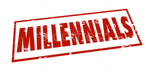 Millennials Word Stamp Grunge Red Ink Youth Marketing Demographi Stock photo © iqoncept