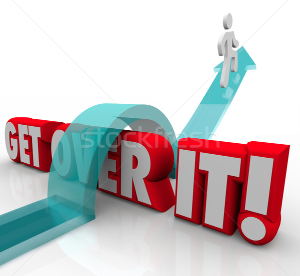 Get Over It Man Jumping Over Words Overcoming Problem Difficult  Stock photo © iqoncept