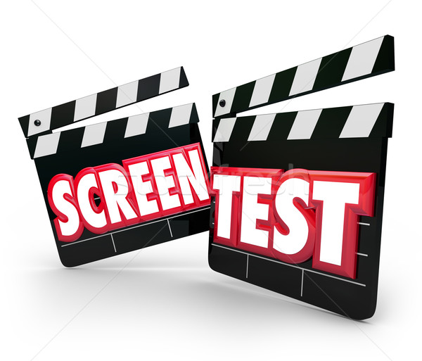 Stock photo: Screen Test Movie Clapper Boards Audition Peformance Acting Tryo