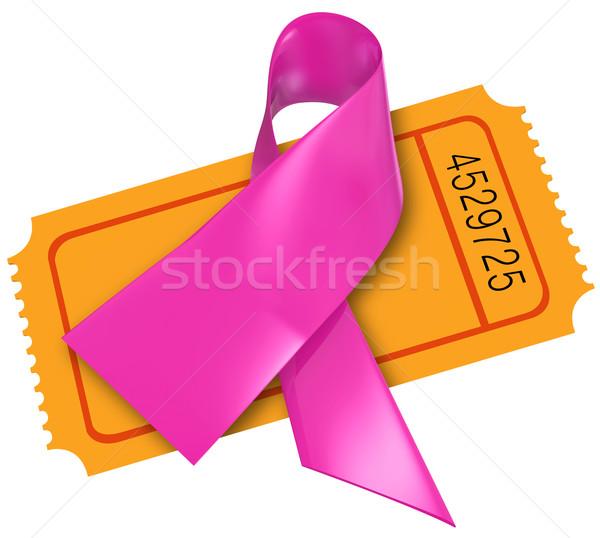 розовый Рак молочной железы лента фонд билета благотворительность Сток-фото © iqoncept