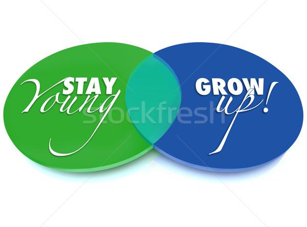 Kalmak genç vs büyümek yukarı diyagram Stok fotoğraf © iqoncept