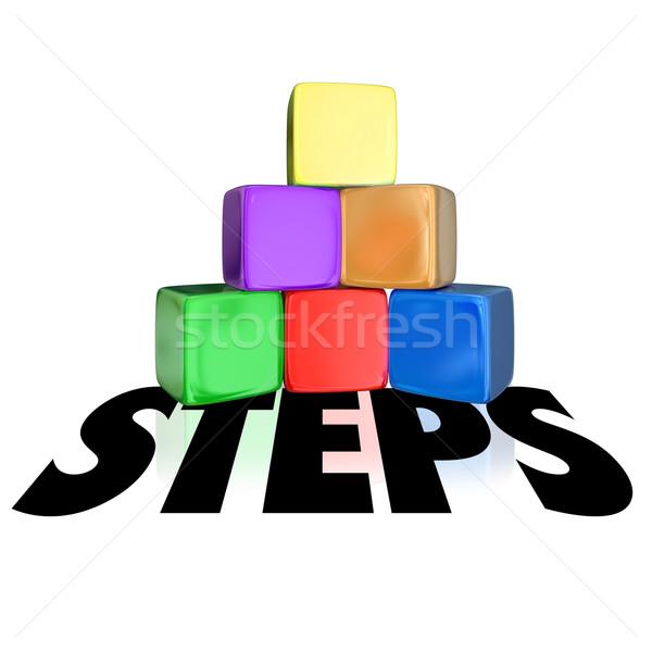Steps Blocks Cubes Pyramid Word Stock photo © iqoncept