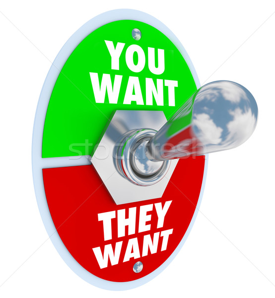 You Want They Want Toggle Switch Competing Priorities Jobs Tasks Stock photo © iqoncept