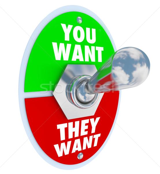 Przełącznik oferty pracy zadania vs słowa Zdjęcia stock © iqoncept
