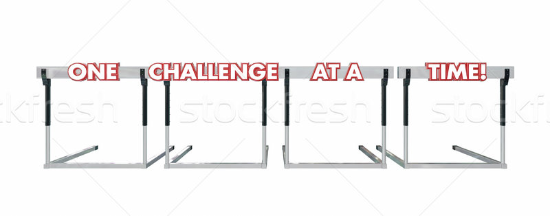 One Challenge at a Time Hurdles Goal Overcome Problems Trouble Stock photo © iqoncept
