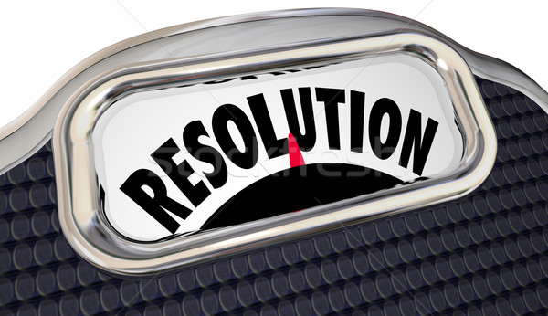 Resolution Word Scale New Year Promise Commitment Lose Weight Stock photo © iqoncept