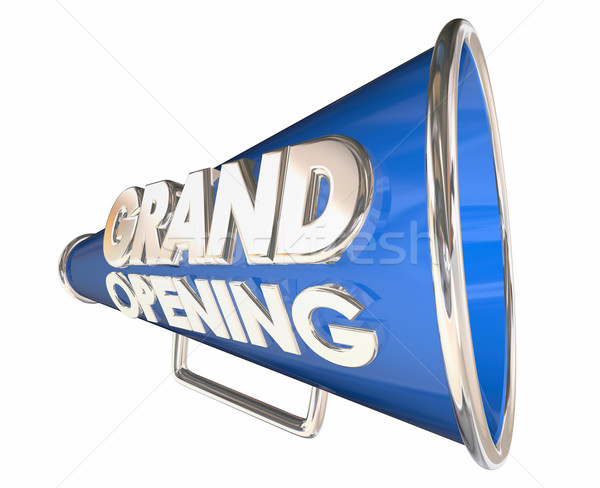 Grand Opening Celebration Event Bullhorn Megaphone 3d Illustrati Stock photo © iqoncept