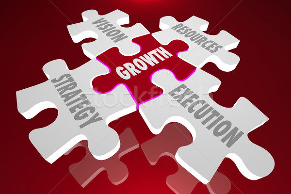 Growth Vision Strategy Execution Puzzle Pieces Words 3d Illustra Stock photo © iqoncept