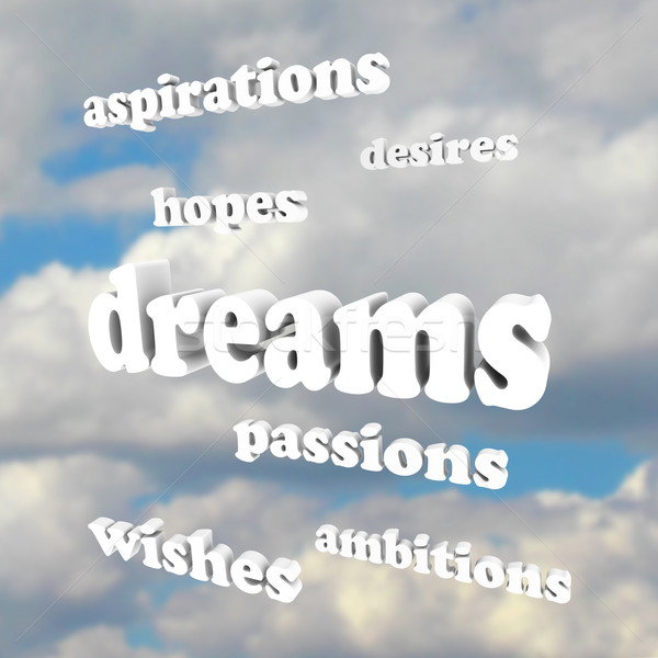 Dreams - Words in Sky for Hopes, Passions, Ambitions Stock photo © iqoncept