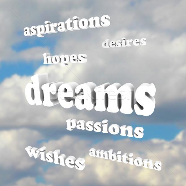 Marzenia słowa niebo kilka około słowo Zdjęcia stock © iqoncept