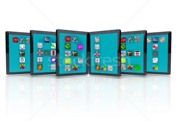 Tablet computers toepassing iconen apps verscheidene Stockfoto © iqoncept