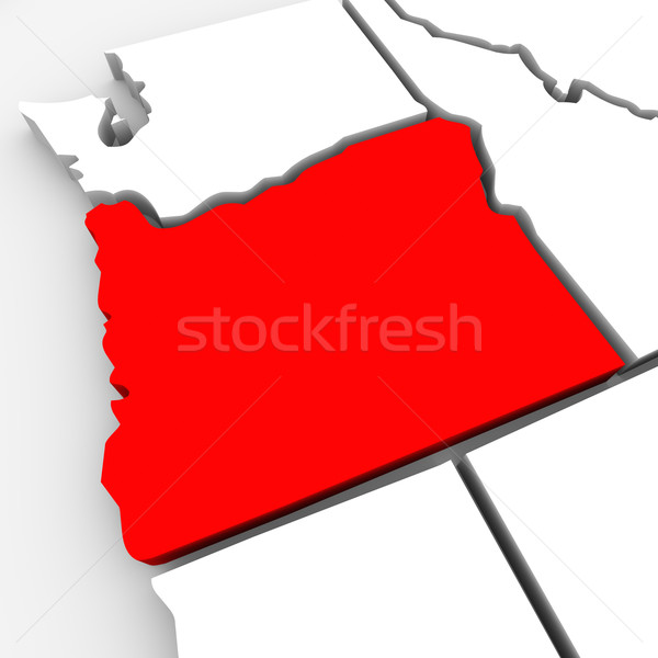 Oregon Red Abstract 3D State Map United States America Stock photo © iqoncept