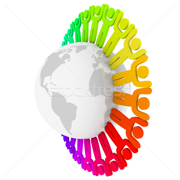 Colorful Diverse People Around Earth Stock photo © iqoncept