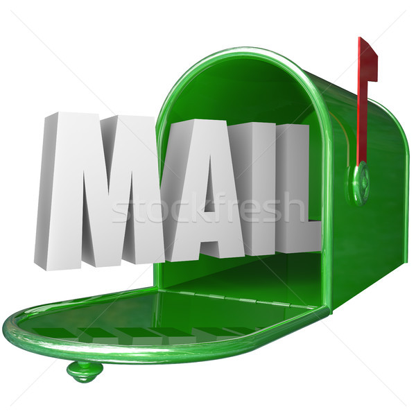 Mail Word Mailbox Postal Delivery New Message Communication Stock photo © iqoncept