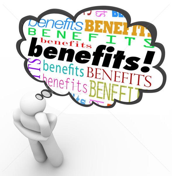 Benefits Thinker Thought Cloud Confused Many Choices Best Packag Stock photo © iqoncept