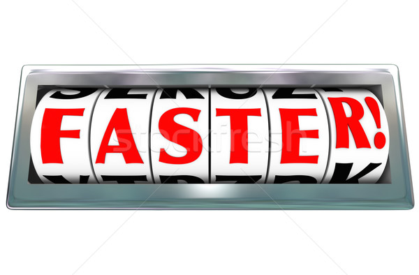 Faster Word Odometer Speed Fast Quick Racing Stock photo © iqoncept
