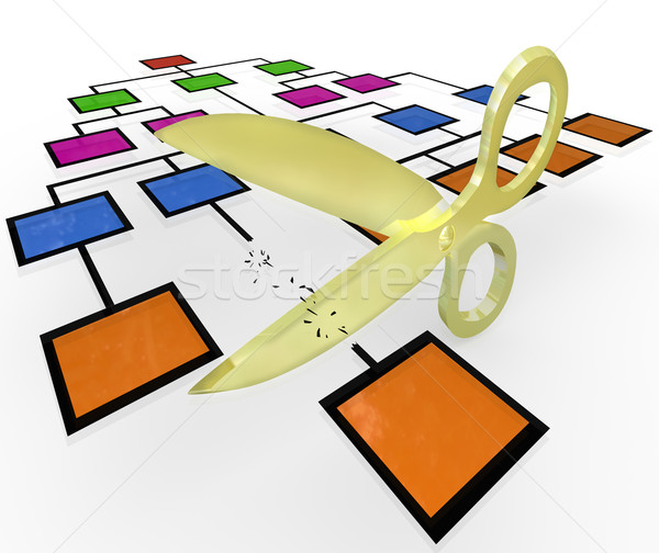 Stock photo: Scissors Cutting Position From Org Chart Cutbacks