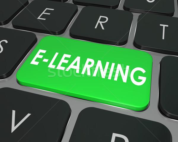 Online oktatás számítógép billentyűzet kulcs online oktatás iskola Stock fotó © iqoncept