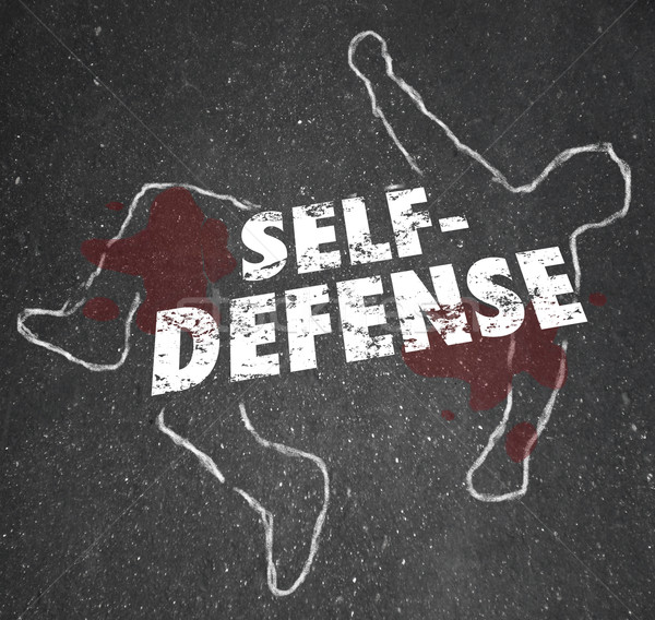 Self Defense Words Chalk Outline Body Defending Yourself Attack Stock photo © iqoncept