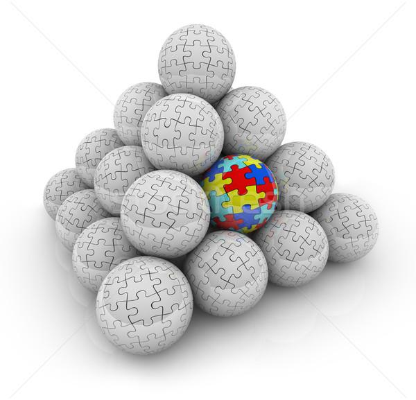 Stock fotó: Kirakó · darabok · piramis · golyók · egy · egyedi · különleges