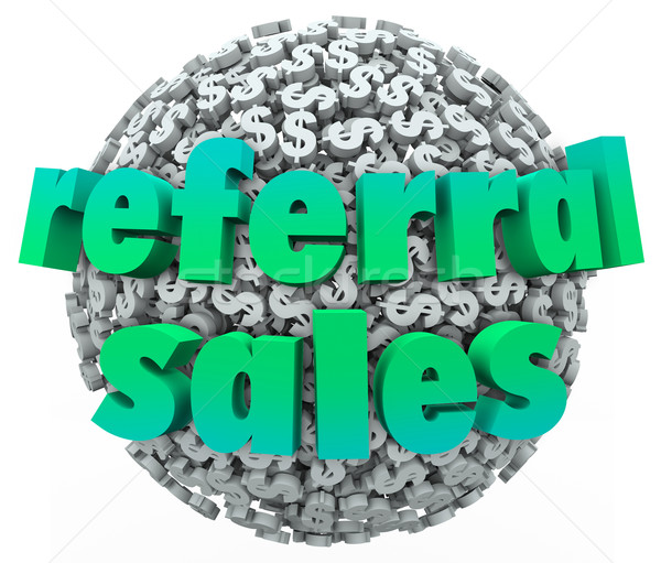 Referral Sales Words Money Dollar Sign Sphere Ball Stock photo © iqoncept