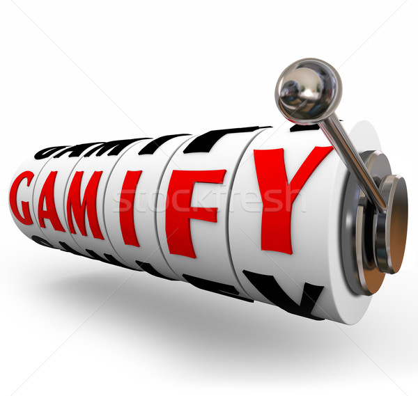 Gamify Word Slot Machine Wheels Gaming Education Marketing Stock photo © iqoncept