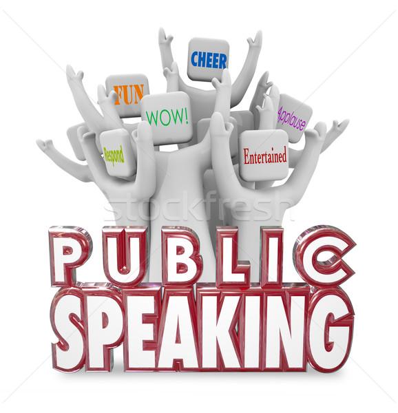 Stock photo: Public Speaking People Audience Cheering Entertaining Fun Speech