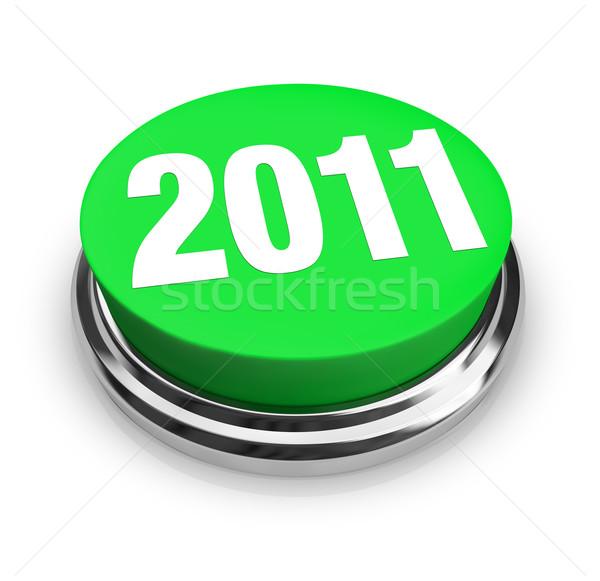 Stockfoto: Groene · knop · 2011 · nieuwjaar · aantal · business