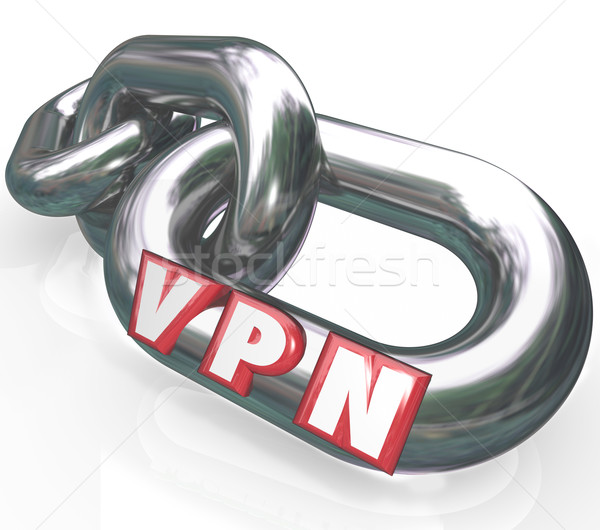 Stock photo: VPN 3d Letters on Chain Links in Secure Connection Virtual Perso