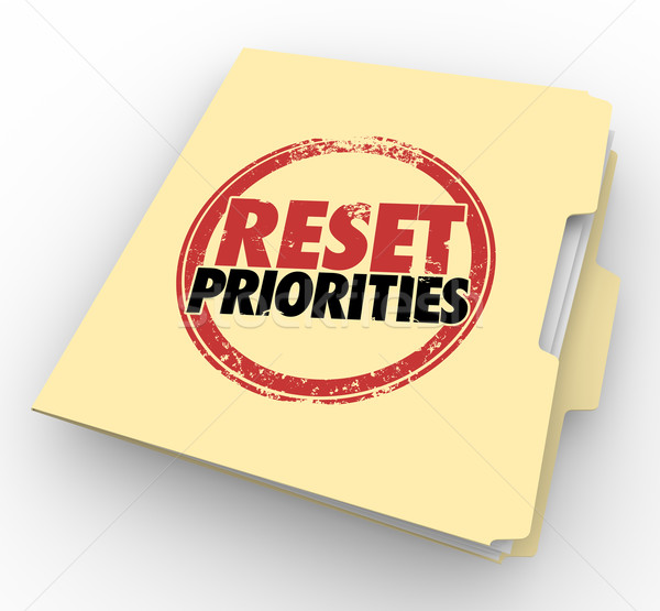 Reset Priorities Manila Folder Files Top Most Important Jobs Tas Stock photo © iqoncept