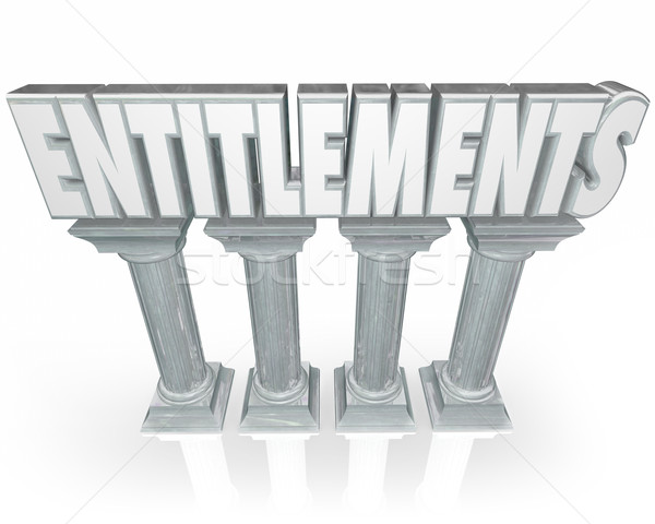 Entitlements Stone Columns Government Benefits Handouts Word Stock photo © iqoncept