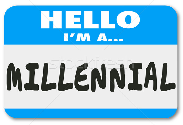 Hello I'm a Millennial Words Name Tag Sticker Stock photo © iqoncept