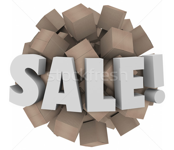 Sale Word Cardboard Boxes Inventory Overstock Wholesale Clearanc Stock photo © iqoncept
