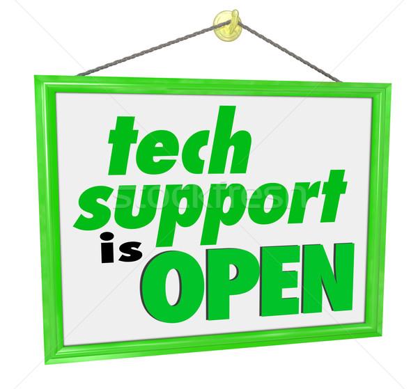 Tecnología apoyo abierto colgante signo palabras Foto stock © iqoncept