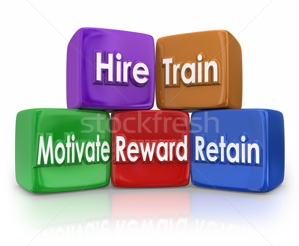 Hire Train Movitate Reward Retain Human Resources Mission Blocks Stock photo © iqoncept
