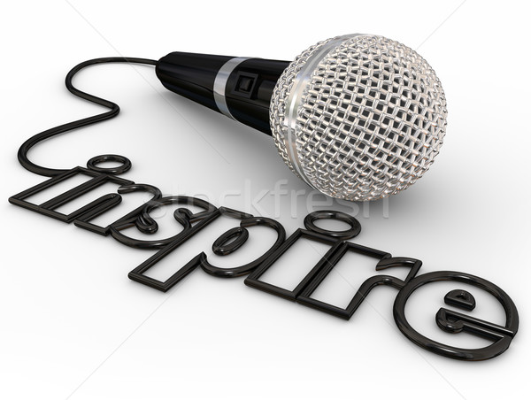 Inspire Microphone Word Cord Motivational Speaker Keynote Addres Stock photo © iqoncept
