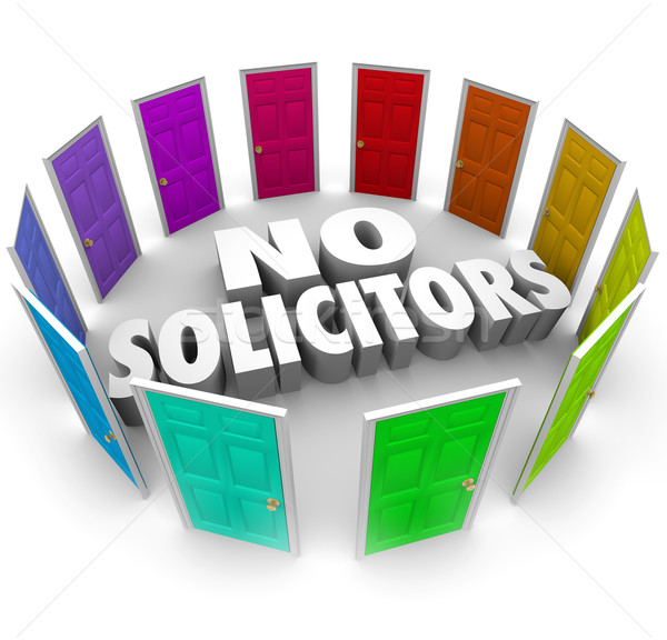 No Solicitors Doors Closed Salespeople Unwanted Solicitation Stock photo © iqoncept