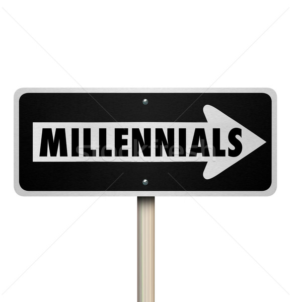 Millennials Road Sign One Way Direction Generation Y Stock photo © iqoncept