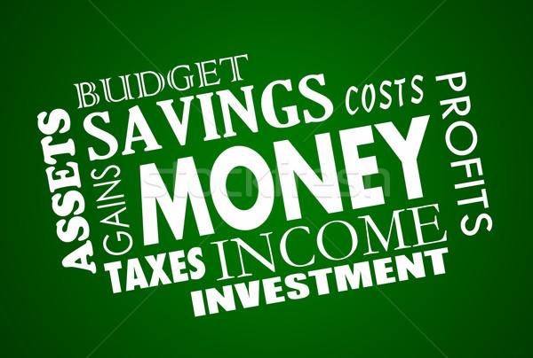 Geld spaargeld budget woord Stockfoto © iqoncept